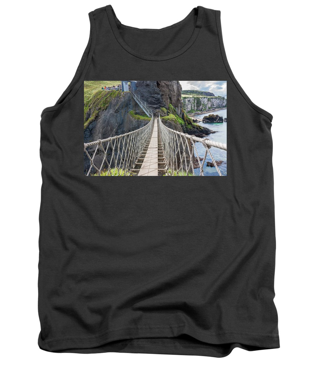 Bridge Tank Top featuring the photograph Rope Bridge At Carrick-a-rede In Northern Island by Semmick Photo