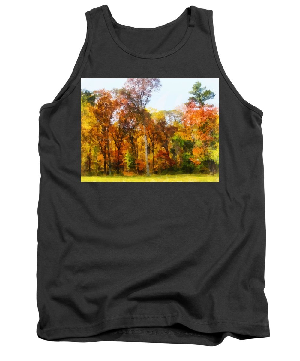 Autumn Tank Top featuring the photograph Row Of Autumn Trees by Susan Savad