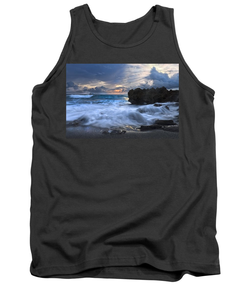 A1a Tank Top featuring the photograph Sailing On The Silk Blue Sea by Debra and Dave Vanderlaan