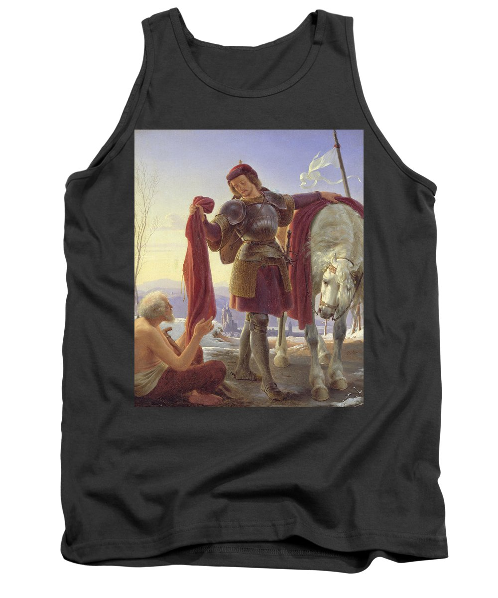 St. Martin And The Beggar Tank Top featuring the painting Saint Martin And The Beggar by Alfred Sethel