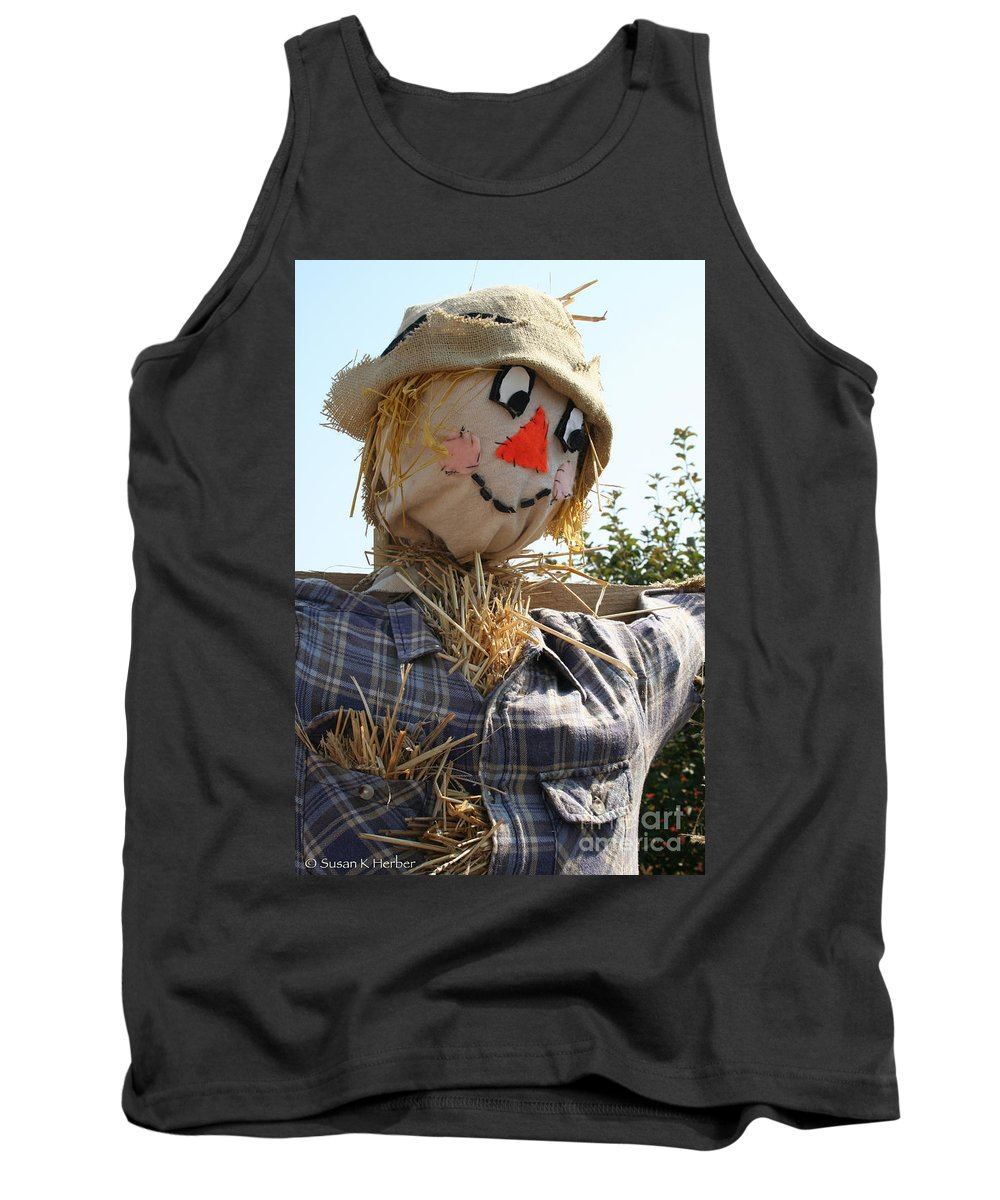 Outdoors Tank Top featuring the photograph Scarecrow Farmer by Susan Herber