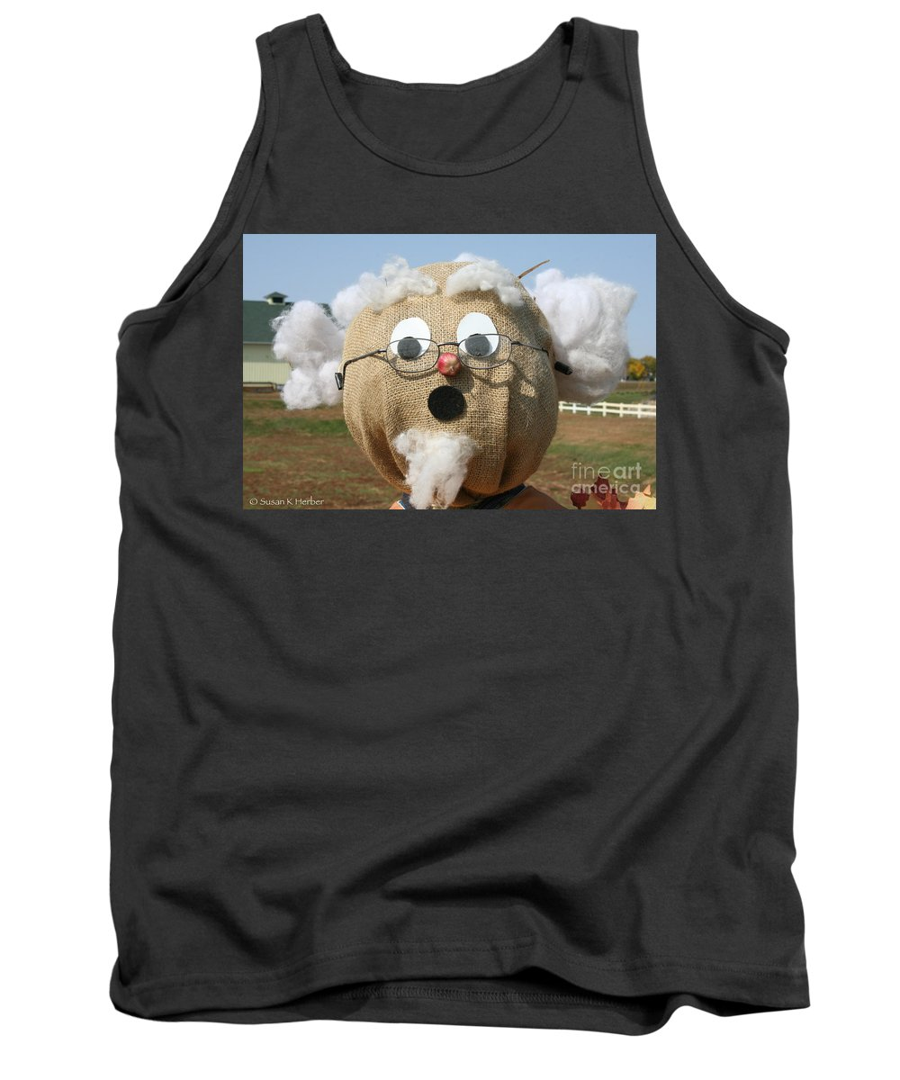 Outdoors Tank Top featuring the photograph Scarecrow Gramps by Susan Herber