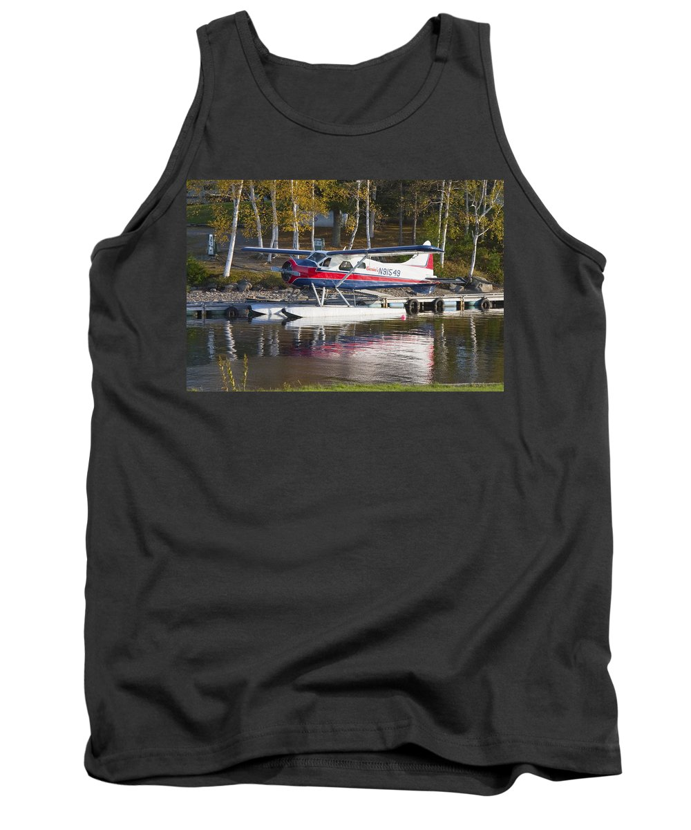 Airplane Tank Top featuring the photograph Seaplane On Moosehead Lake In Maine Canvas Photo Poster Print by Keith Webber Jr