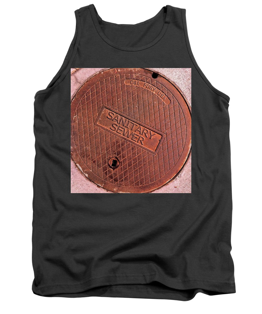 Sign Photographs Tank Top featuring the photograph Sewer Cover by Bill Owen