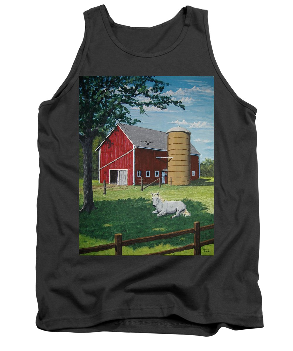 Landscape Tank Top featuring the painting Shady Rest by Norm Starks