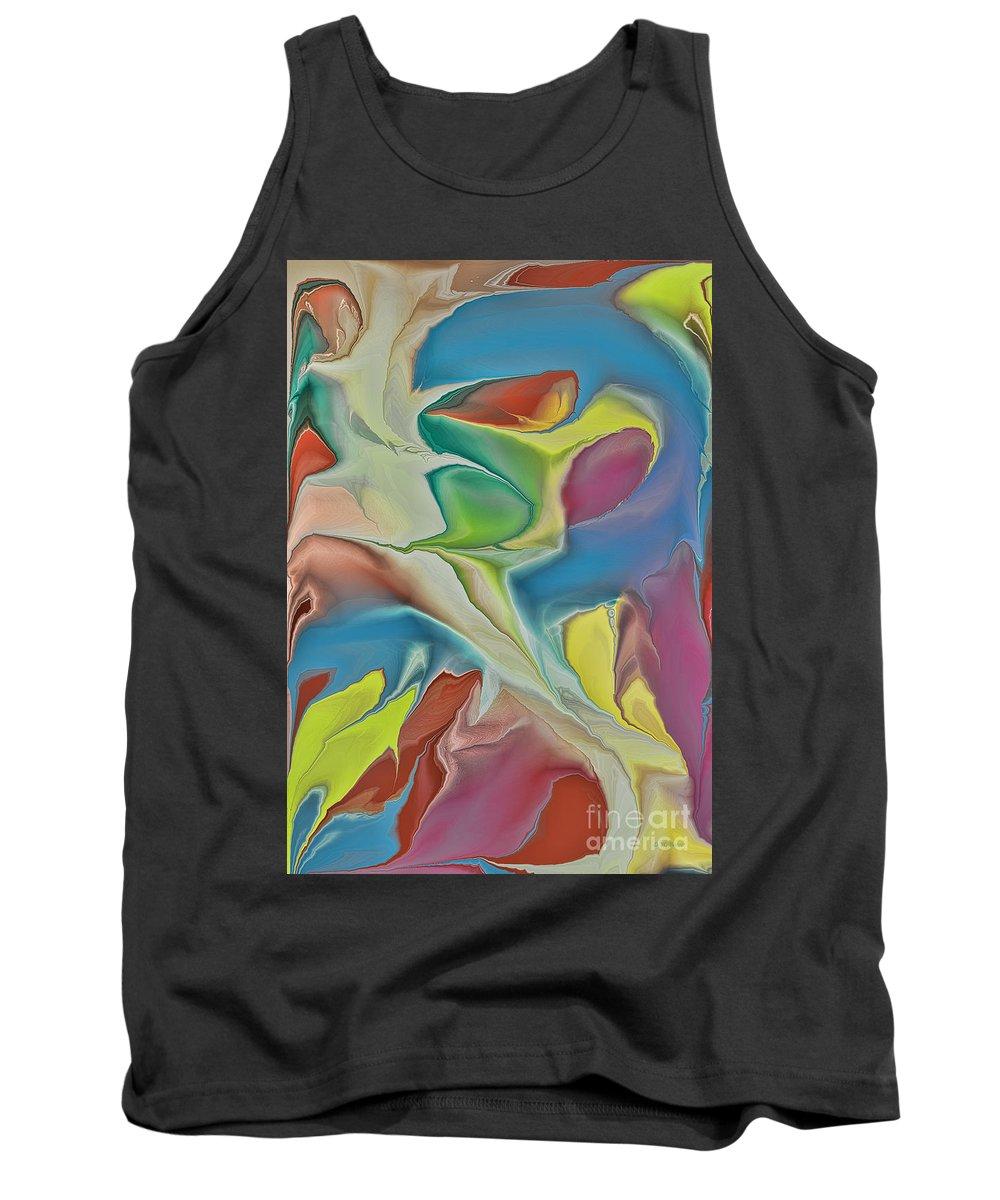 Abstract Tank Top featuring the digital art Sharks In Life by Deborah Benoit