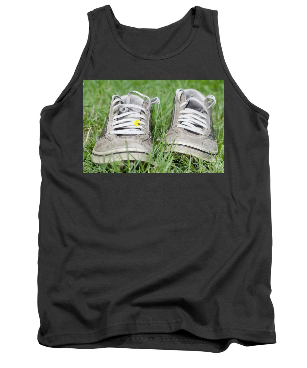 Shoes Tank Top featuring the photograph Shoes On The Green Grass by Mats Silvan