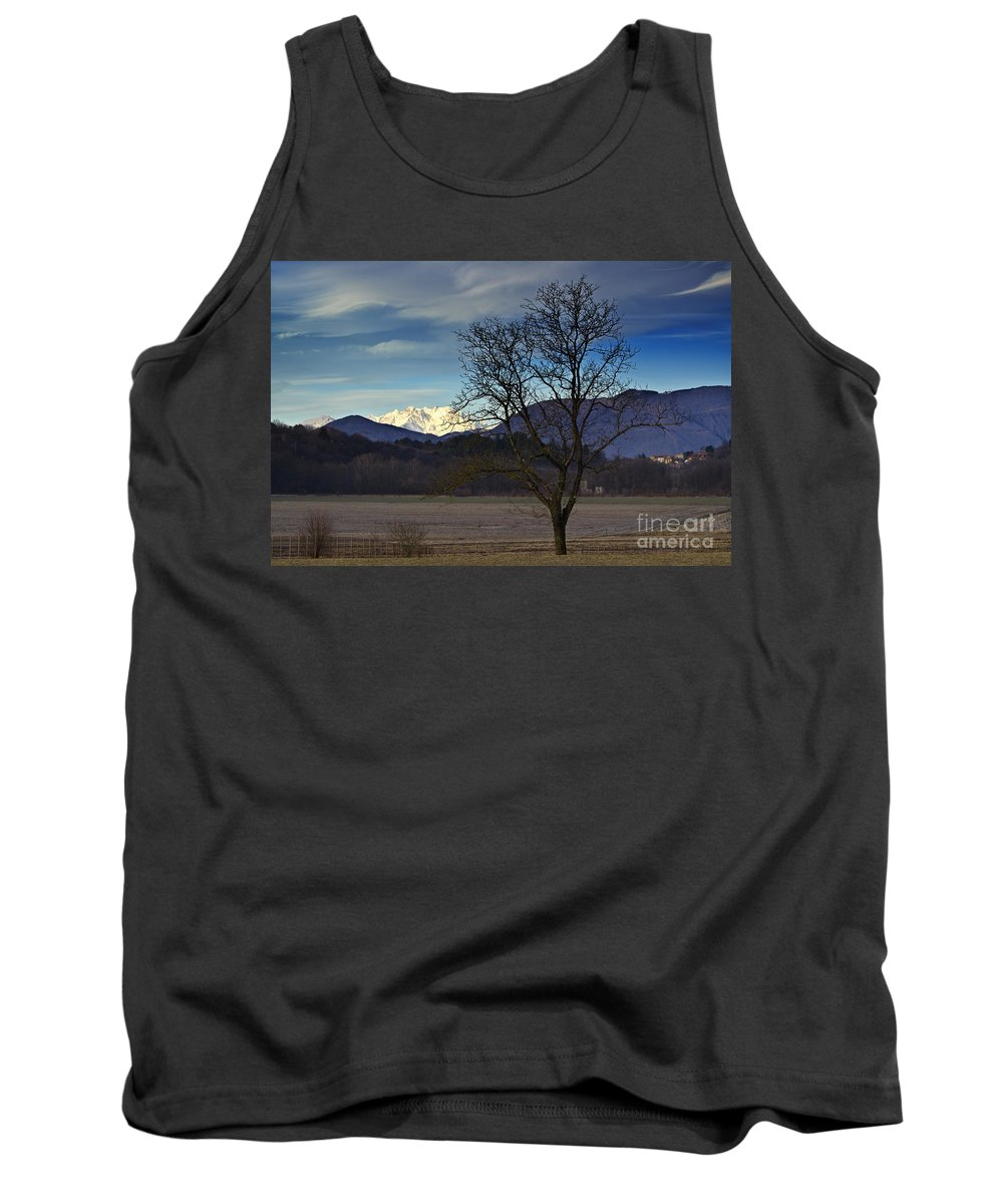 Trees Tank Top featuring the photograph Snow-capped Monte Rosa by Mats Silvan