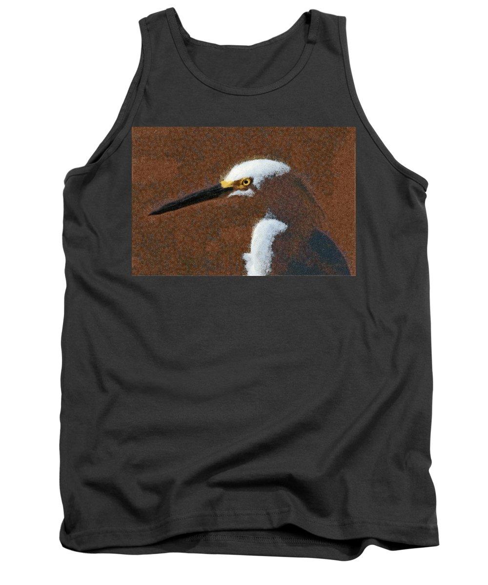 Birds Tank Top featuring the digital art Snowy Egret Profile Painterly by Ernie Echols