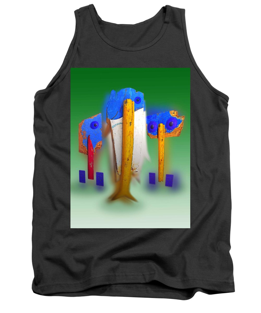 Green Tank Top featuring the painting Soul Survivors by Charles Stuart