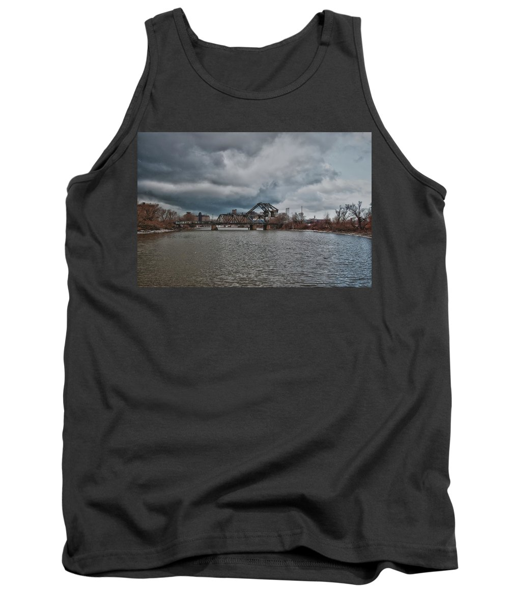 Railroad Tank Top featuring the photograph South Buffalo Rail Bridge by Guy Whiteley