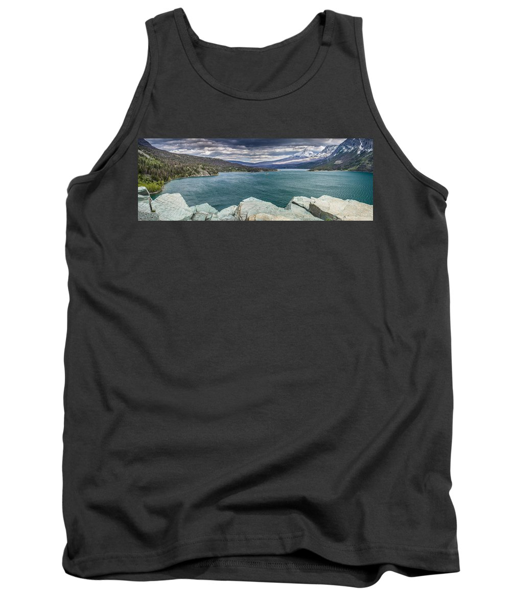 St. Mary Lake Tank Top featuring the photograph St. Mary Lake Under Stormy Skies by Greg Nyquist