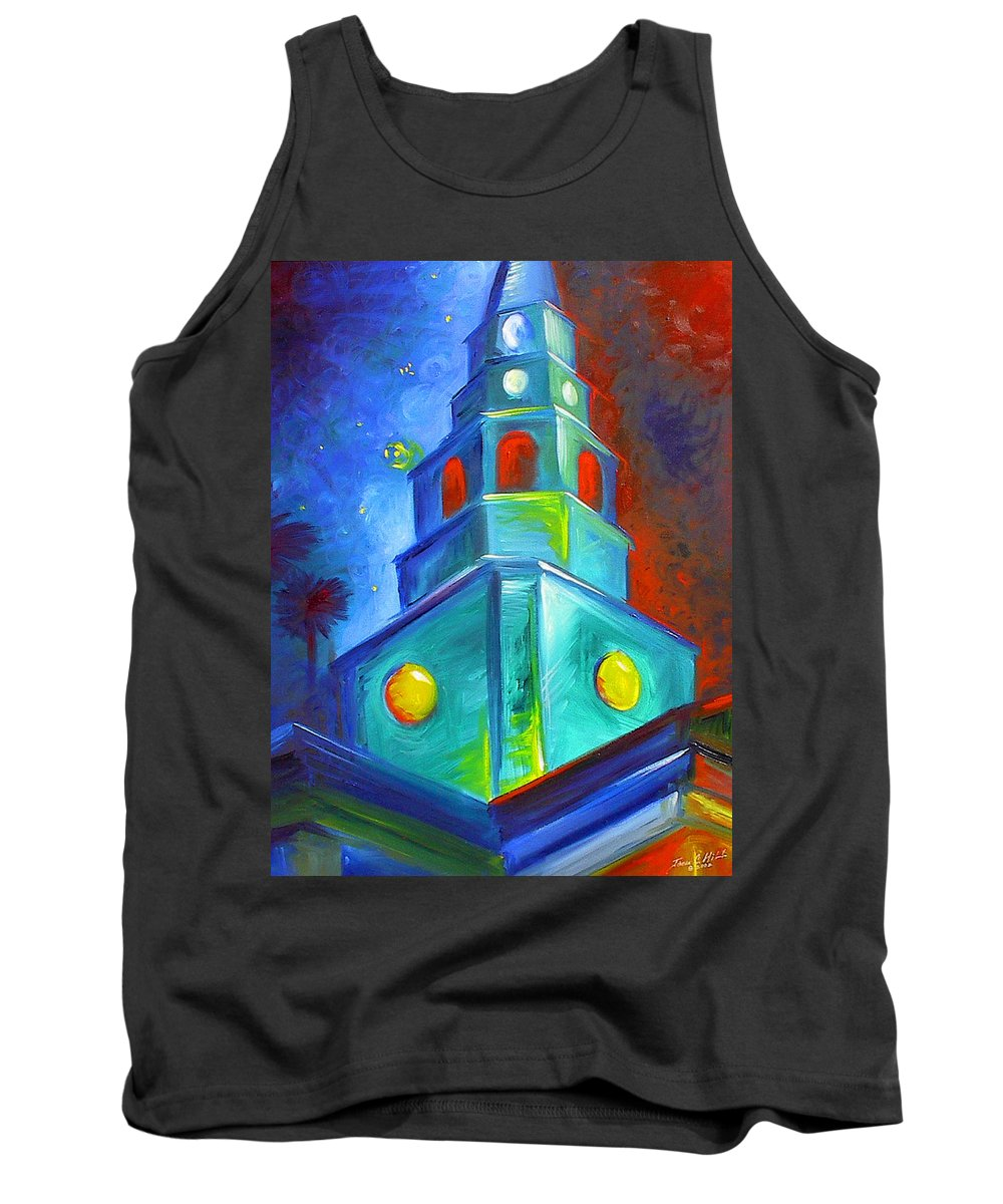 Sky; Impressionist; House; Charleston; Tree; Flowers; Blue; Red; Green; Yellow; Contemporary; Street; Road; Vintage; Old; Southern; Antebellum; James Christopher Hill; Jameshillgallery.com; Ocean; Lakes; Creation; Genesis; Church Tank Top featuring the painting St. Michael's Church by James Christopher Hill