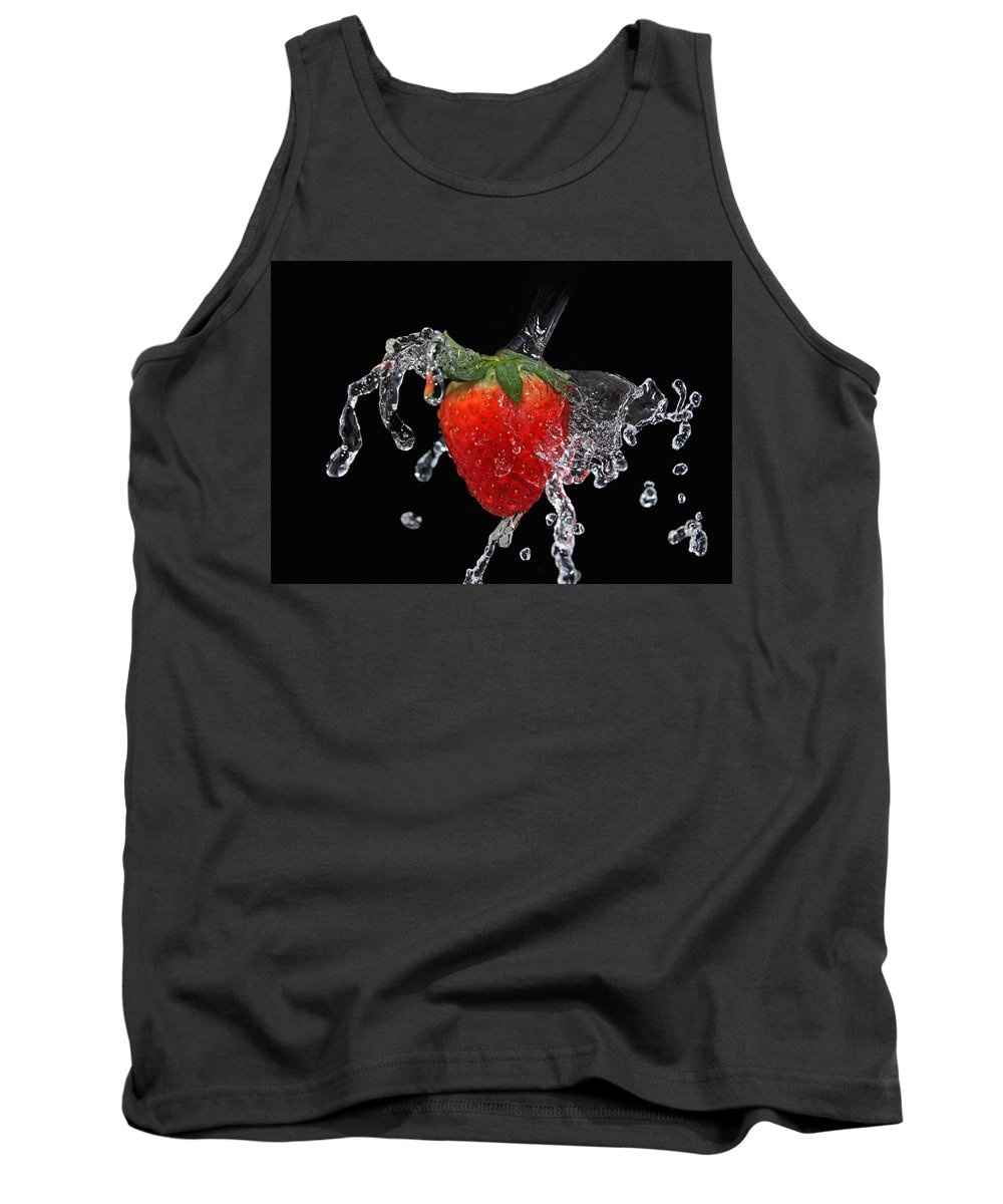Strawberry Tank Top featuring the photograph Strawberry-splash by Manfred Lutzius