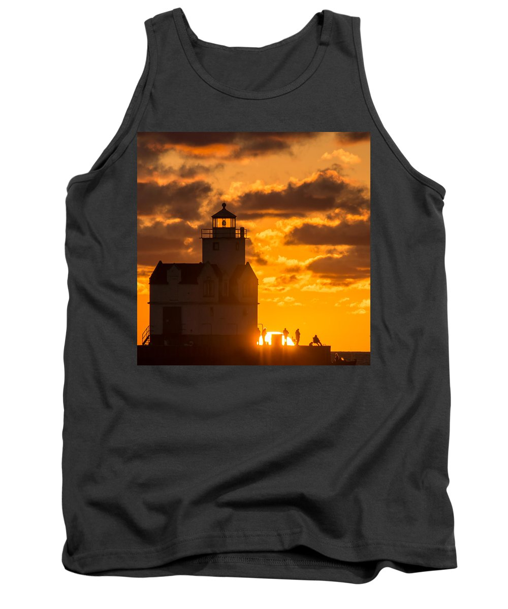 Lighthouse Tank Top featuring the photograph Sunrise Pier Fishermen by Bill Pevlor