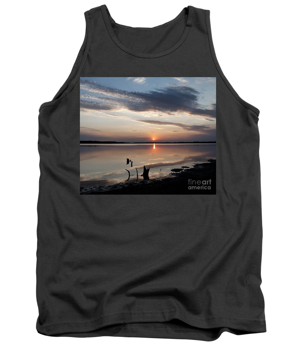 Prairie Sunset Tank Top featuring the photograph Sunset Over Lovewell Lake by Art Whitton