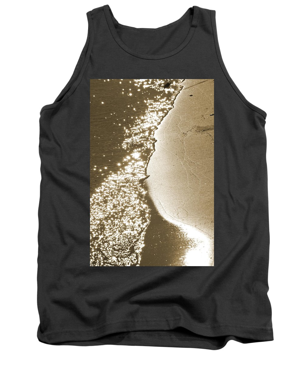Waterline Tank Top featuring the photograph Surfs Edge In Sepia by Christine Stonebridge