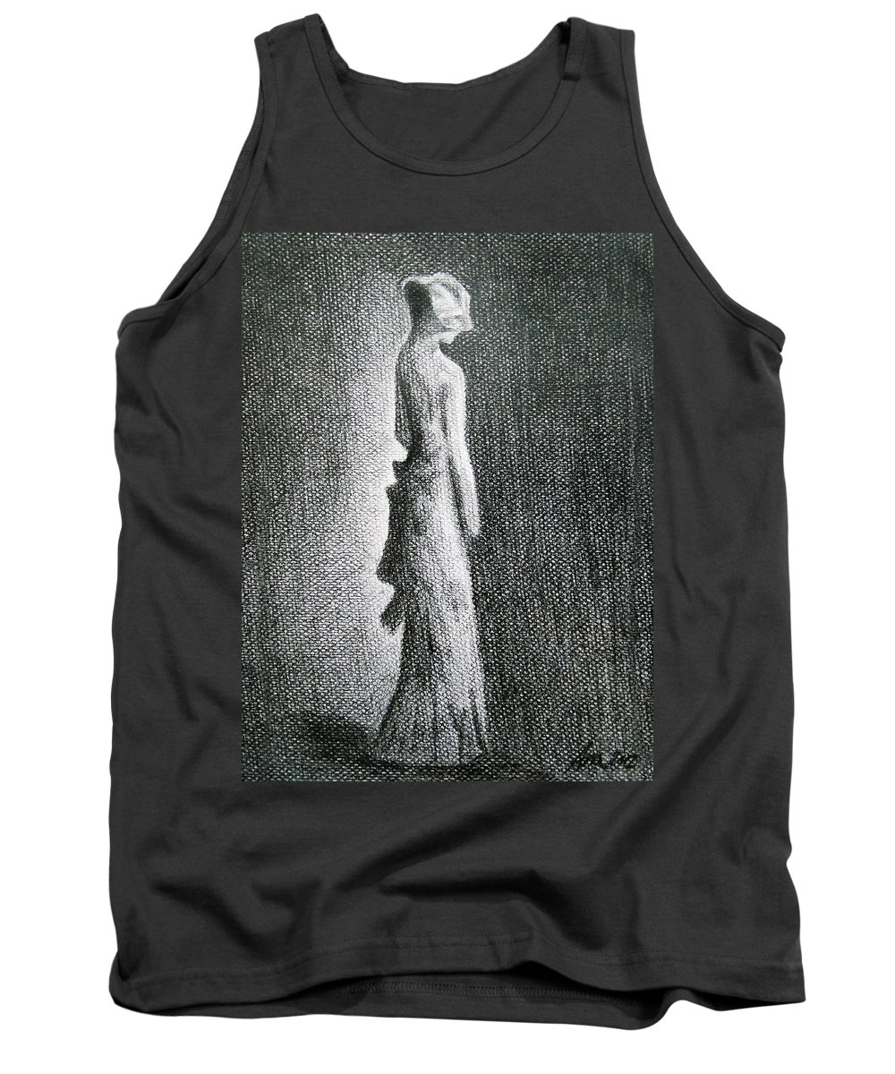 Black Tank Top featuring the drawing The Black Bow by Ana Leko Nikolic
