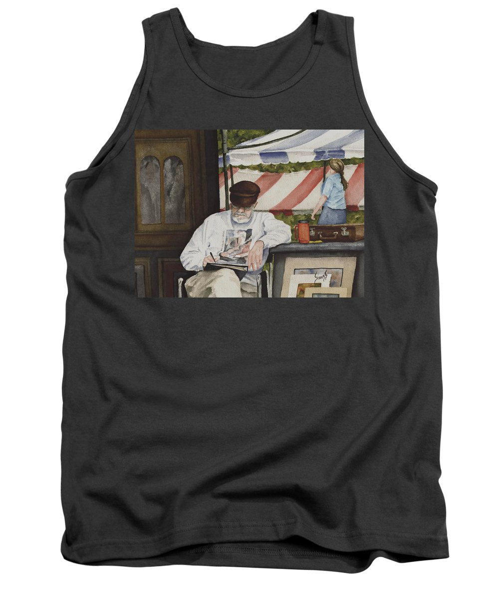 Artist Tank Top featuring the painting The Festival Artist by Sam Sidders