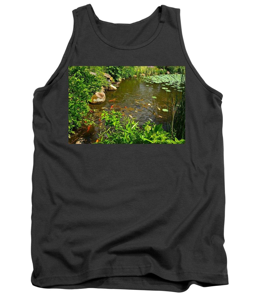 Koi Tank Top featuring the photograph The Koi Are Feeding by Byron Varvarigos
