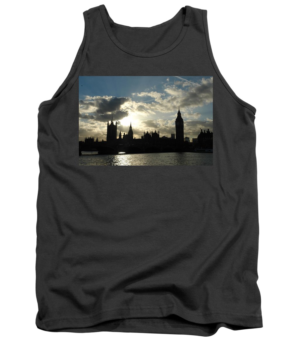 London Tank Top featuring the photograph The Outline Of Big Ben And Westminster And Other Buildings At Sunset by Ashish Agarwal