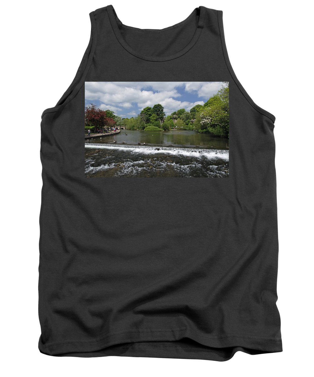 Derbyshire Tank Top featuring the photograph The Riverside And Weir - Bakewell by Rod Johnson