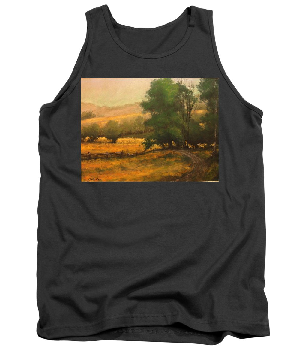 Painting Tank Top featuring the painting The Road Less Traveled by Jim Gola