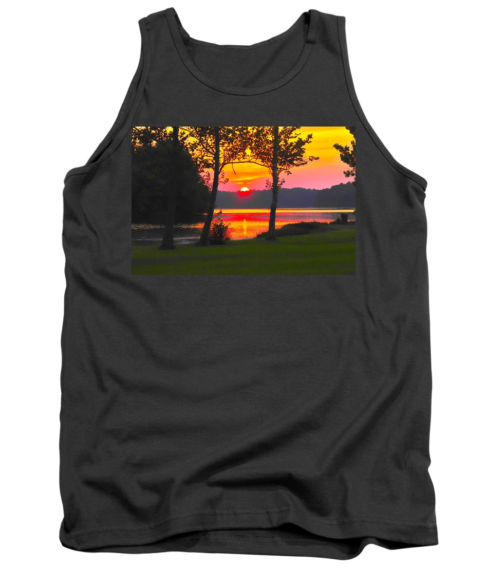 Tranquility Tank Top featuring the photograph The Smiling Face Sunset by Randall Branham
