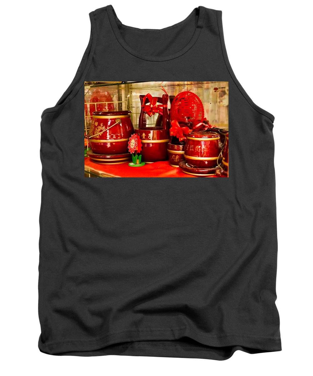 Asian Tank Top featuring the photograph the Wedding Gifts Shop at the Qibao Ancient Town by Jiayin Ma