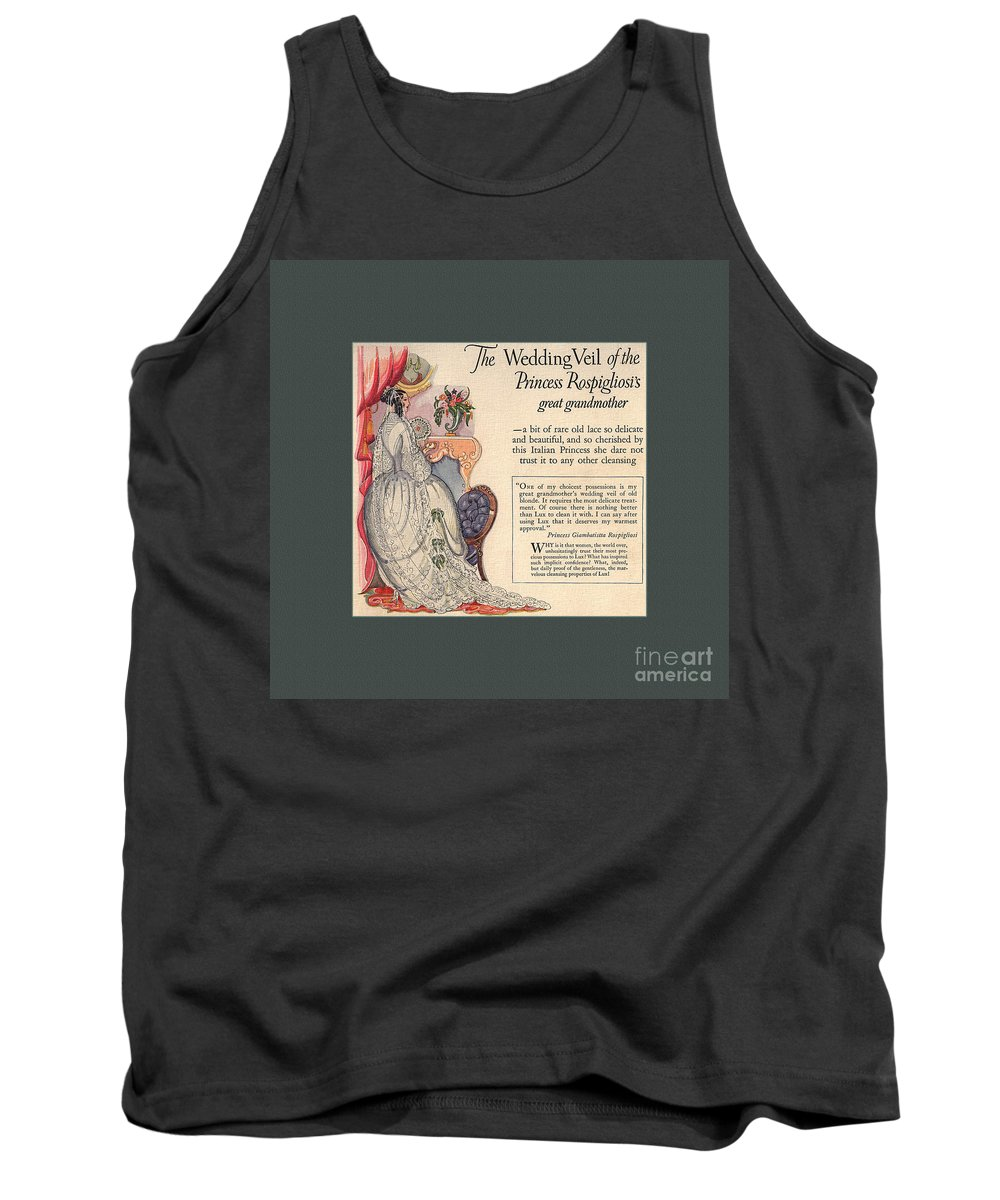 Laundry Soap Tank Top featuring the drawing The Wedding Veil Of The Princess Rospigliosi's Great Grandmother by Anne Kitzman