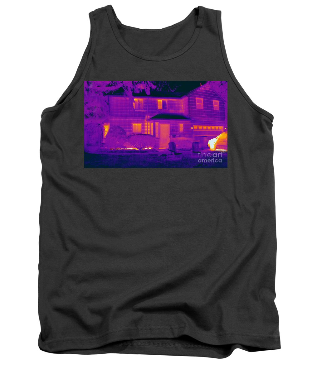 Thermogram Tank Top featuring the photograph Thermogram Of A Home In Winter by Ted Kinsman