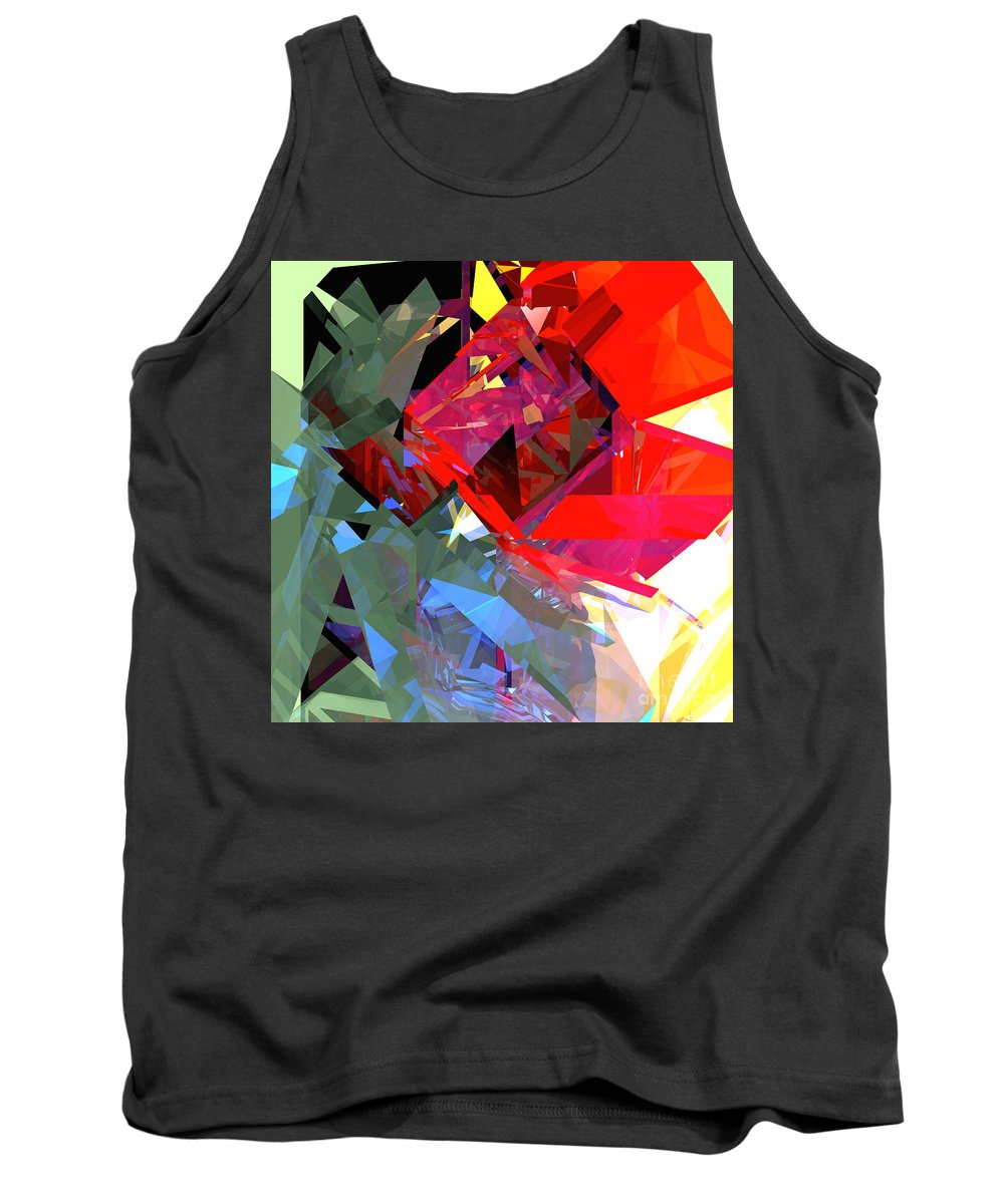 Abstract Tank Top featuring the digital art Tower Poly 16 Poppy by Russell Kightley
