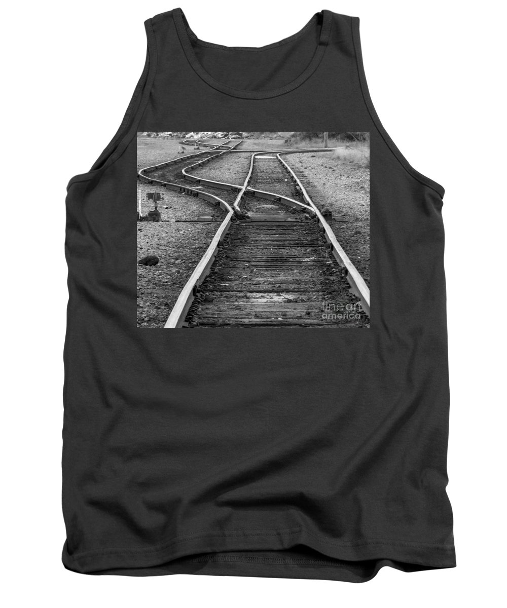 Railroad Tank Top featuring the photograph Train Tracks Switch by Darleen Stry