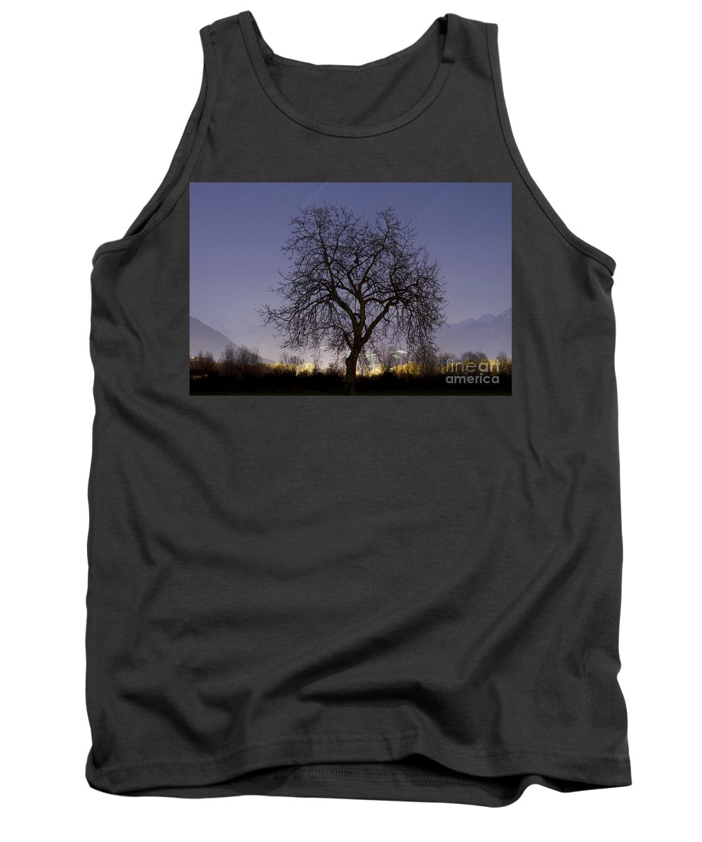 Tree Tank Top featuring the photograph Tree At Night With Stars Trails by Mats Silvan