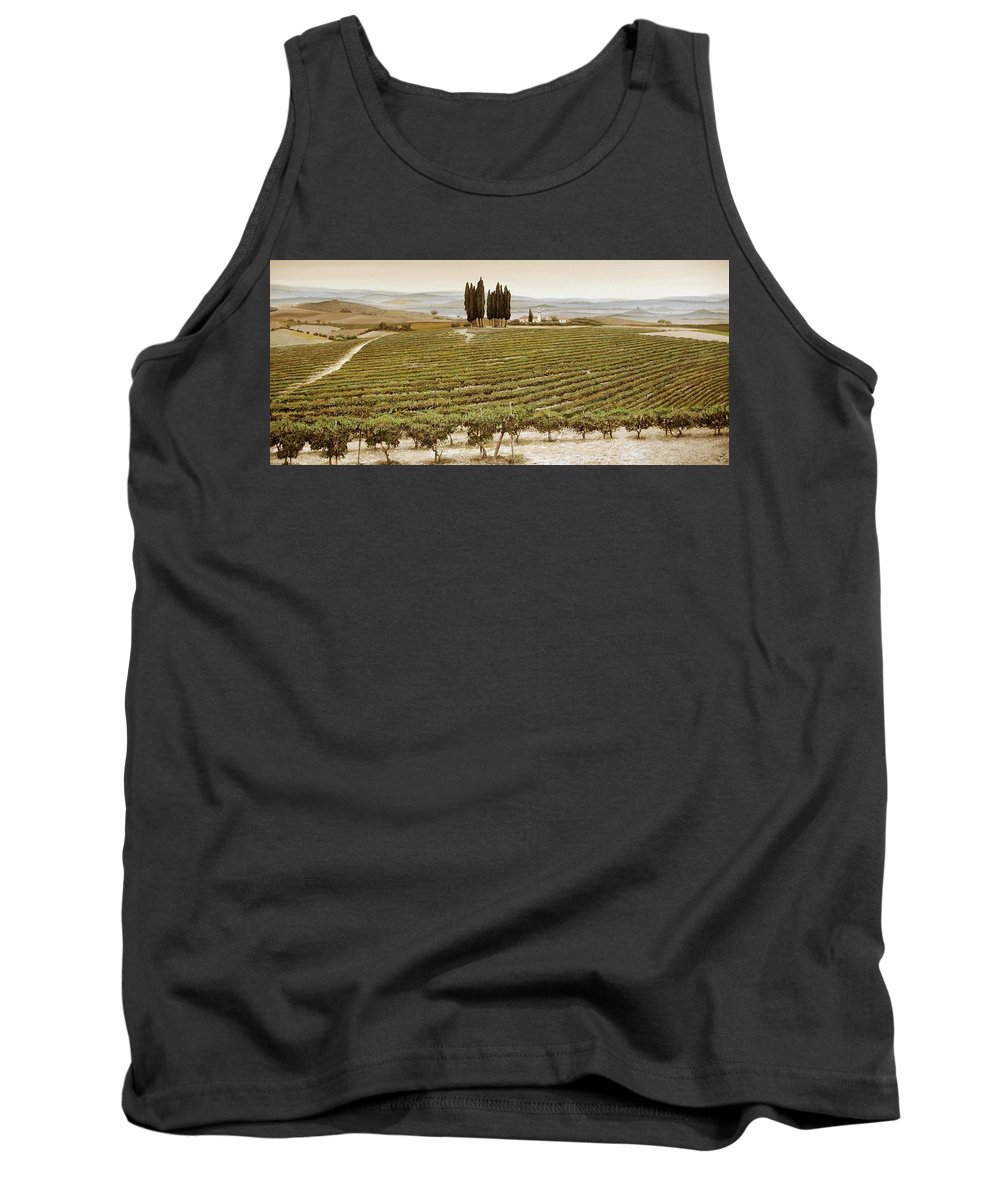 Tuscan; Italian Landscape; Rural; ; Vines; Wine; Viticulture; Countryside; Rural; Tuscany; Italy; Vineyard Tank Top featuring the painting Tree Circle - Tuscany by Trevor Neal