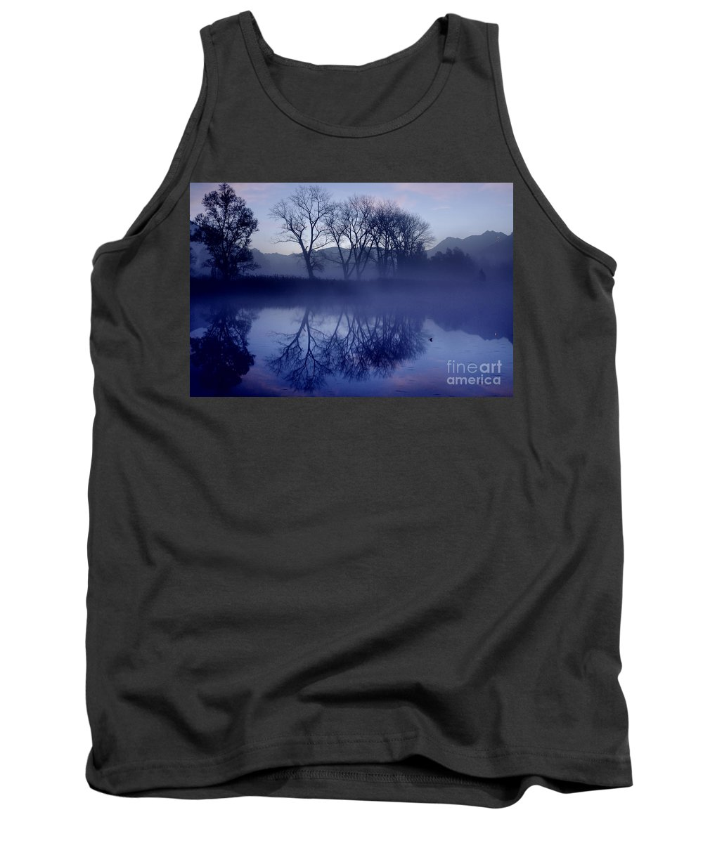 Trees Tank Top featuring the photograph Trees On The Lake Front by Mats Silvan