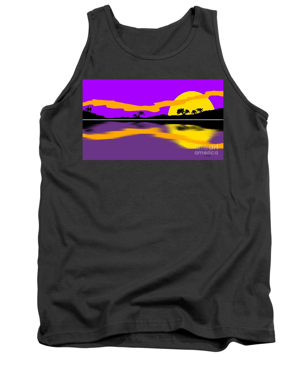 Tropical Tank Top featuring the painting Tropical Sunrise by George Pedro