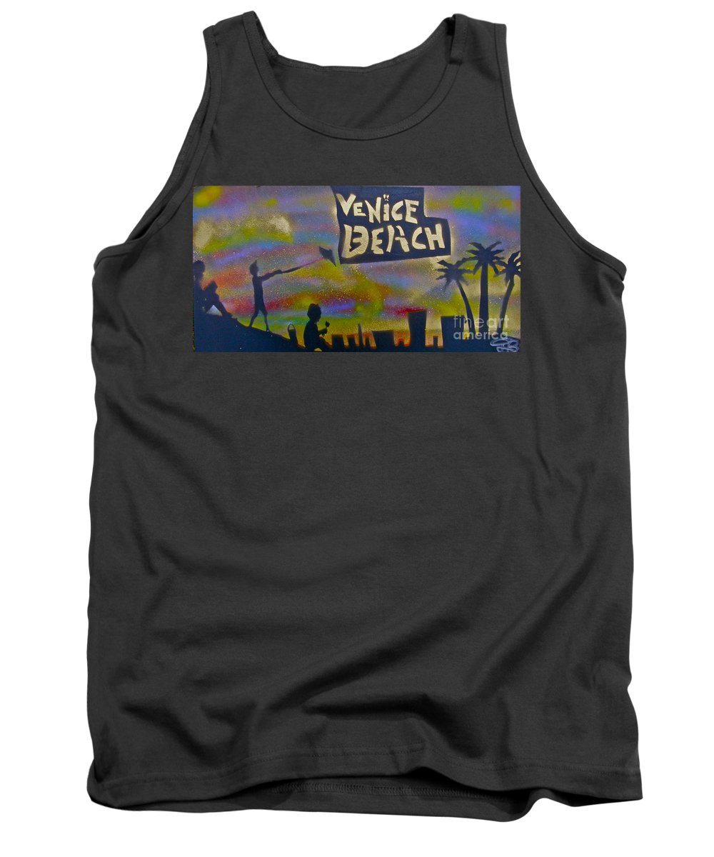 Mermaid Tank Top featuring the painting Venice Beach Life by Tony B Conscious