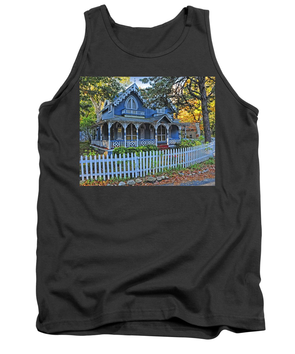 Marthas Vineyard Tank Top featuring the photograph Victorian Home Marthas Vineyard by Dave Mills