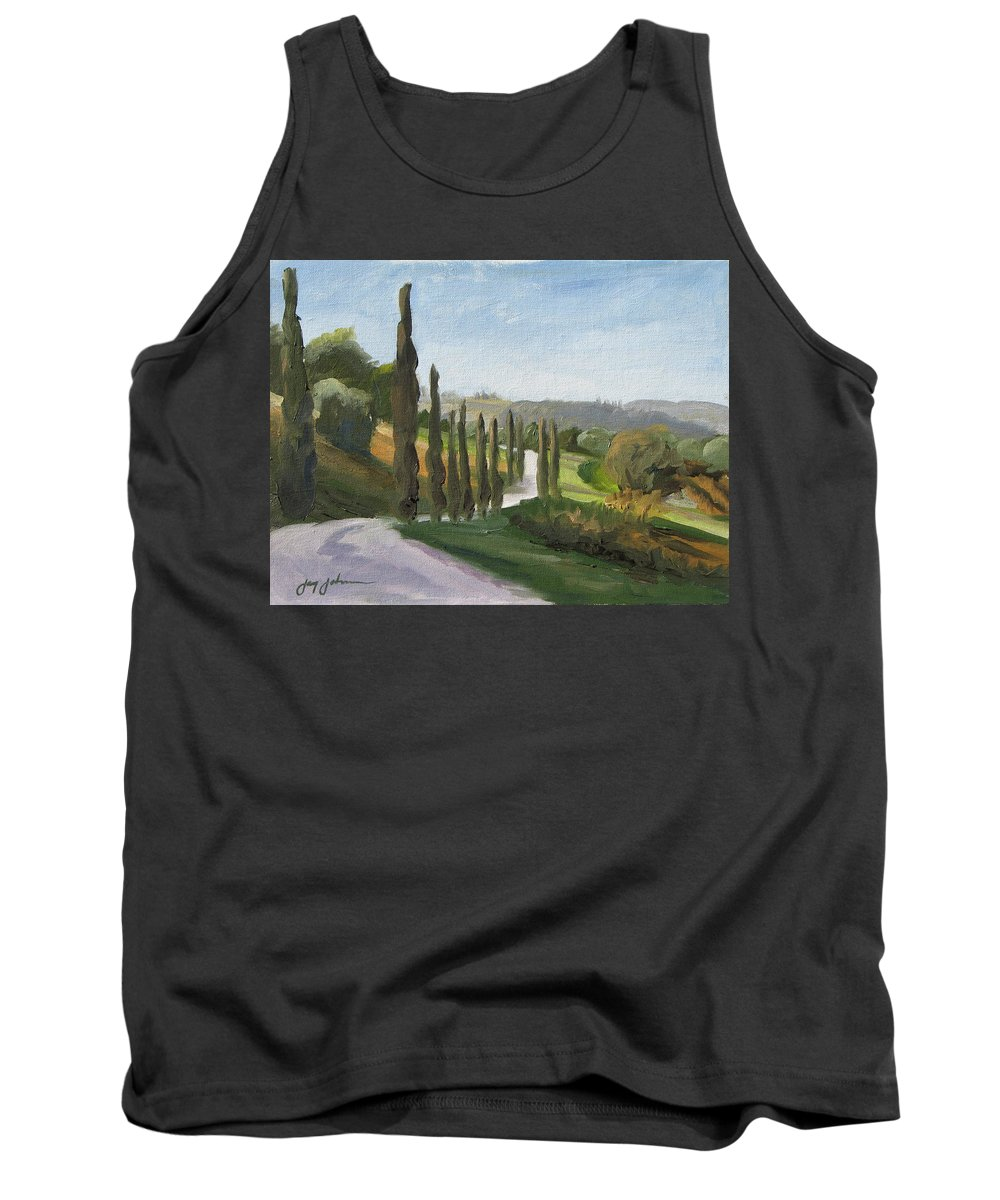 Landscape Tank Top featuring the painting Casa Benne Villa Road by Jay Johnson