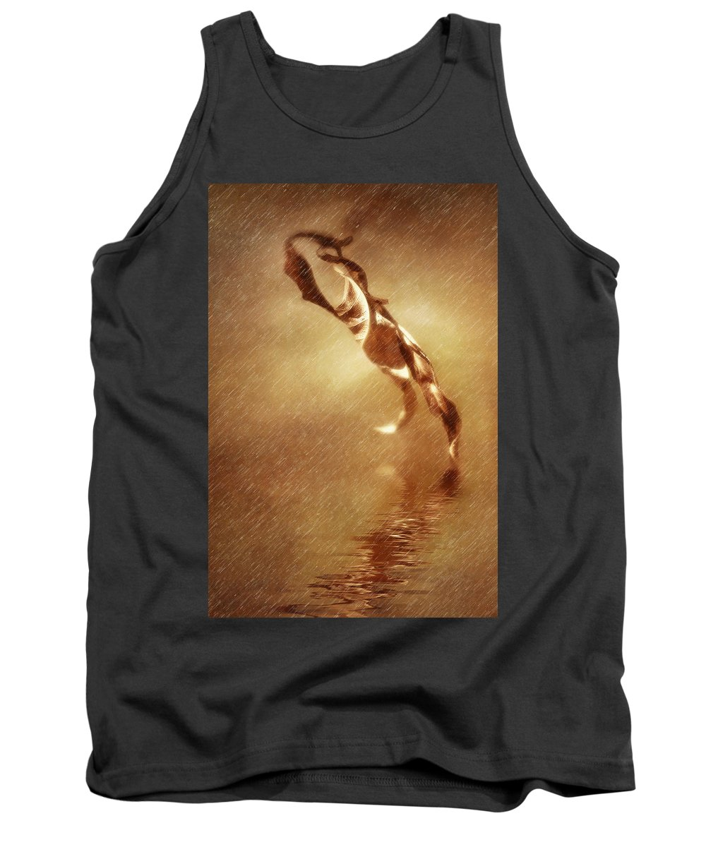 Leafs Tank Top featuring the digital art Walking Leafs by Diane Dugas