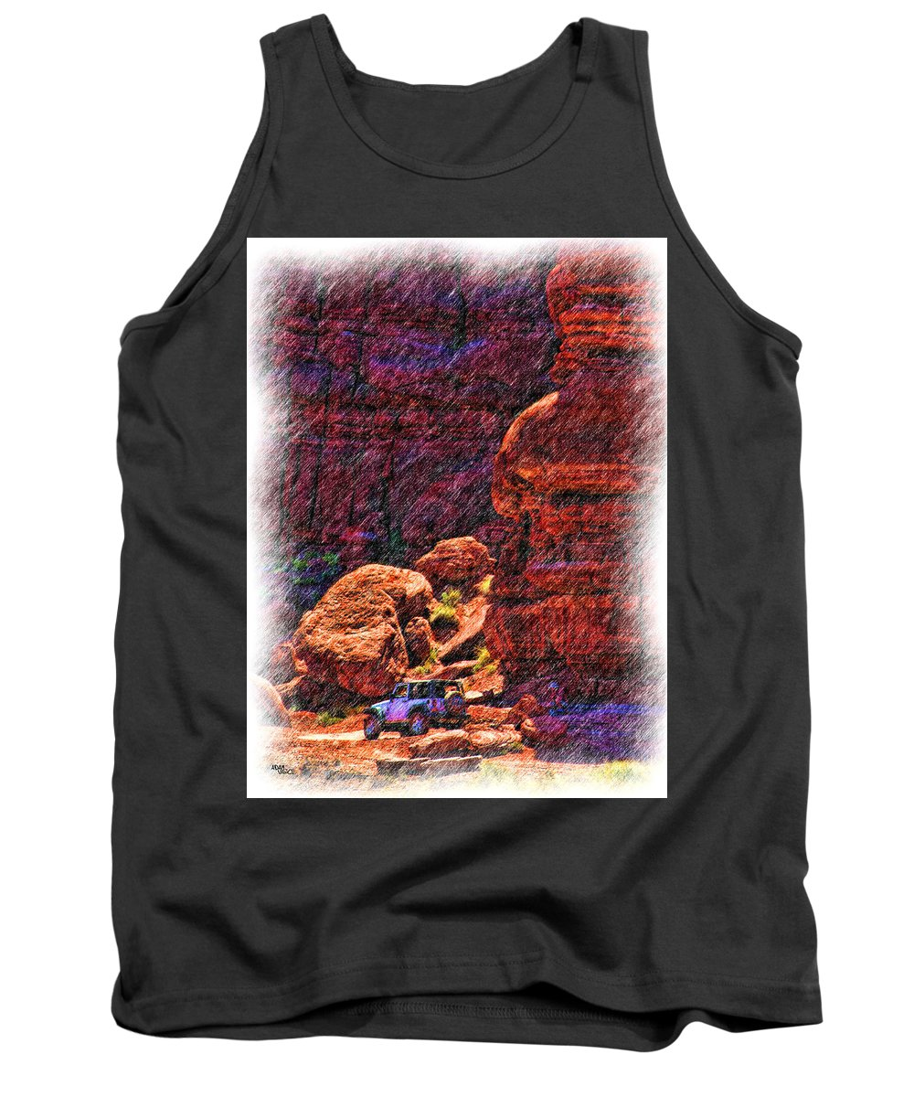 Jeep Tank Top featuring the drawing Where Are We by Adam Vance