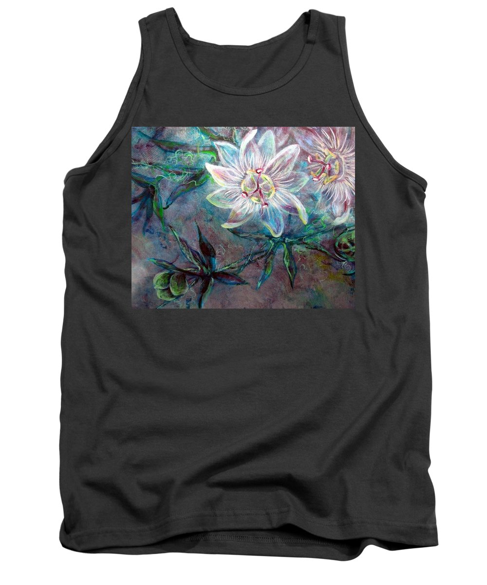 Floral Tank Top featuring the painting White Passion by Ashley Kujan