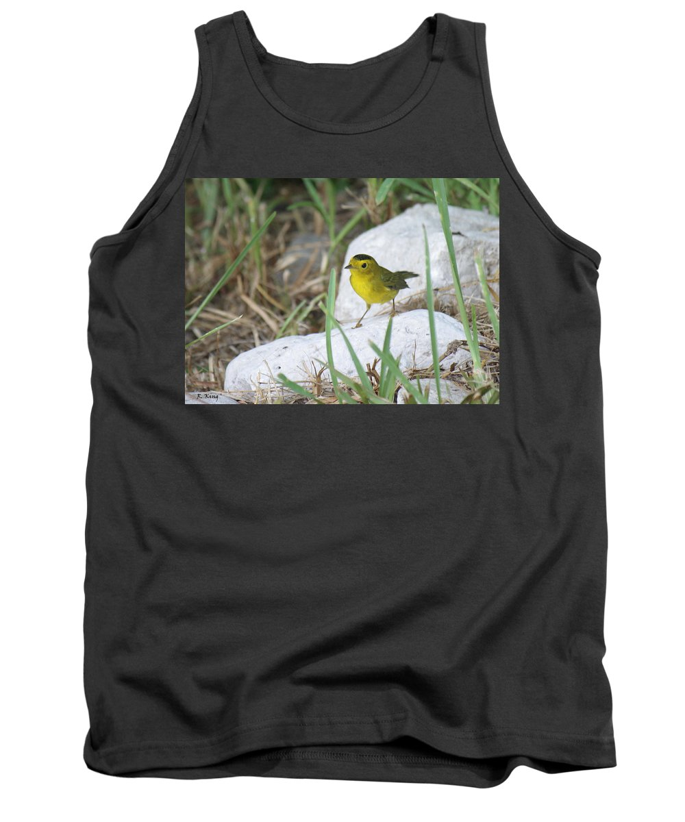 Roena King Tank Top featuring the photograph Wilsons Warbler By The Stream by Roena King
