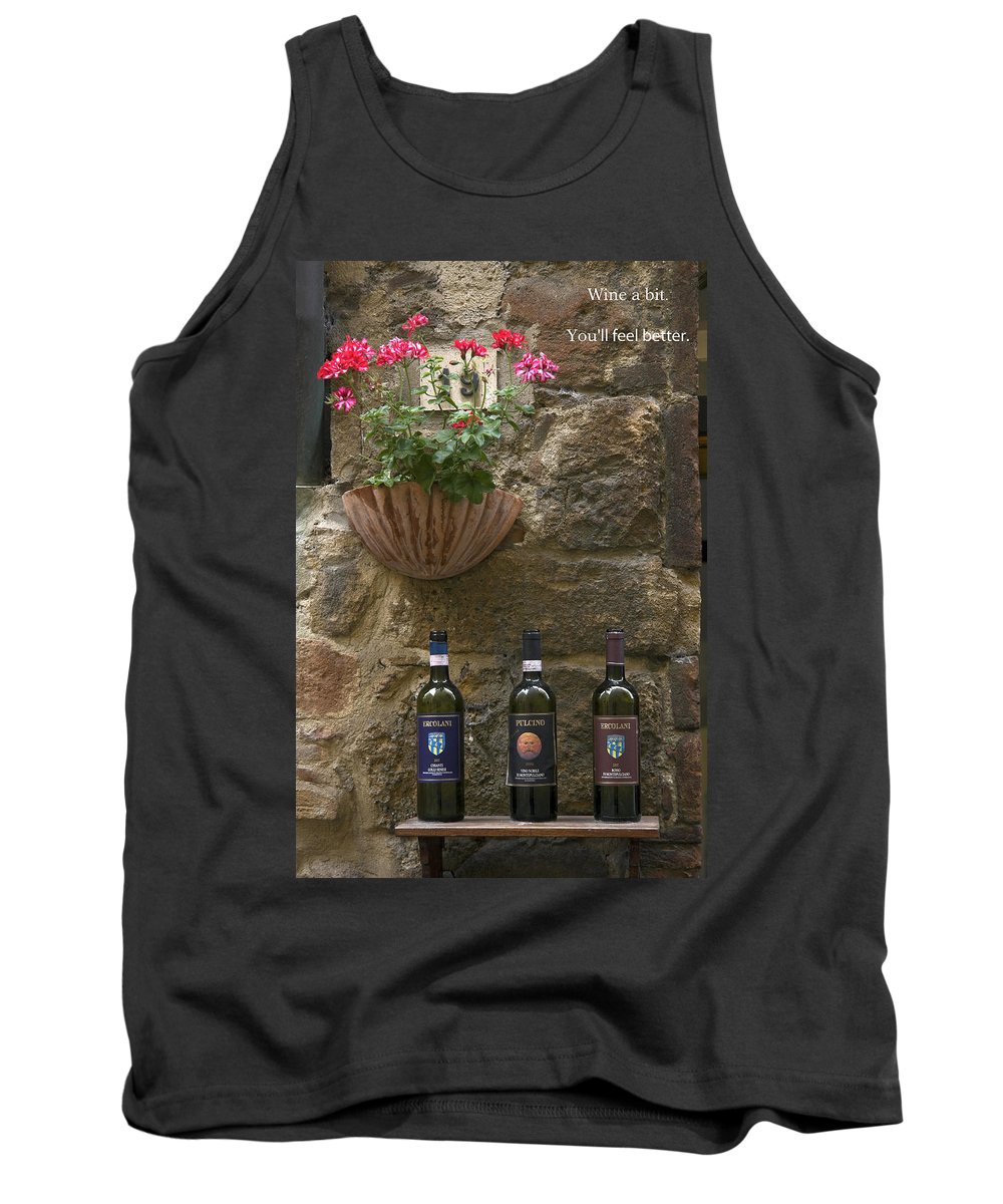 3 Bottles Tank Top featuring the photograph Wine A Bit by Sally Weigand