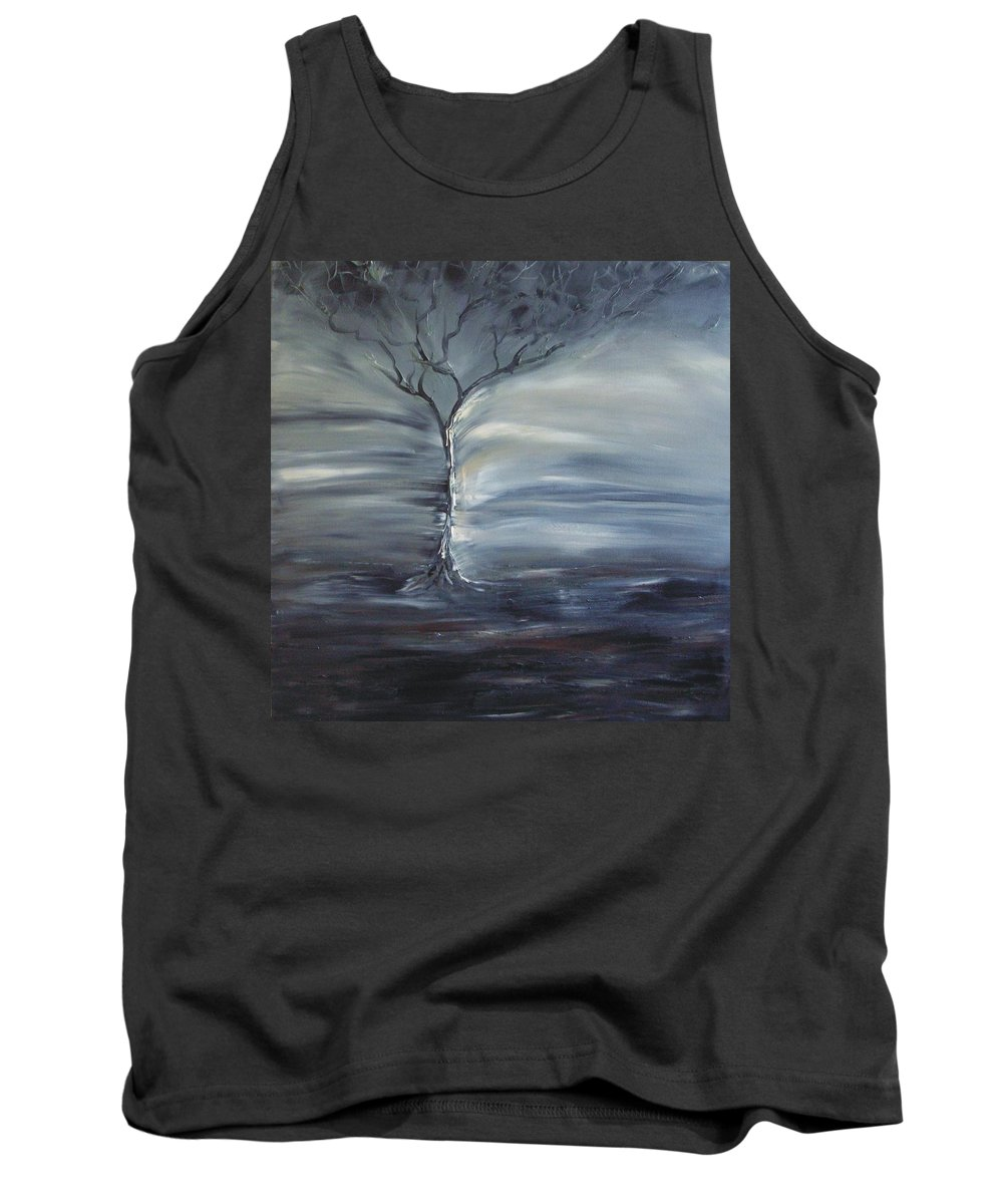 Tree Tank Top featuring the painting Winter Storm by Lesley Anne Cornish