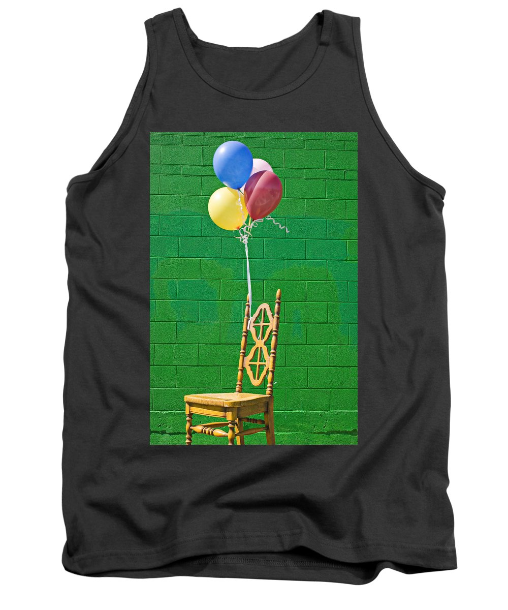Yellow Tank Top featuring the photograph Yellow Cahir With Balloons by Garry Gay