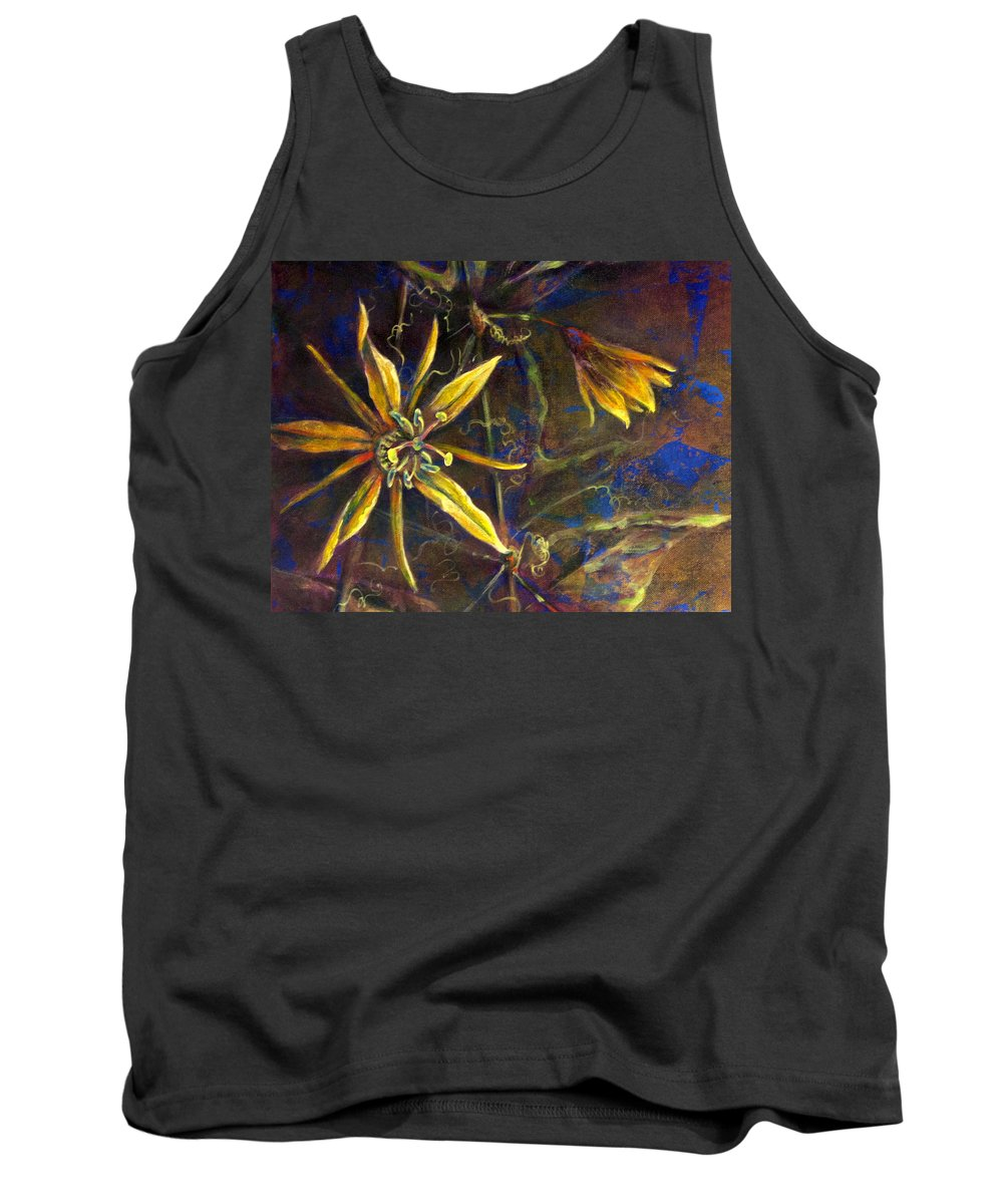 Floral Tank Top featuring the painting Yellow Passion by Ashley Kujan