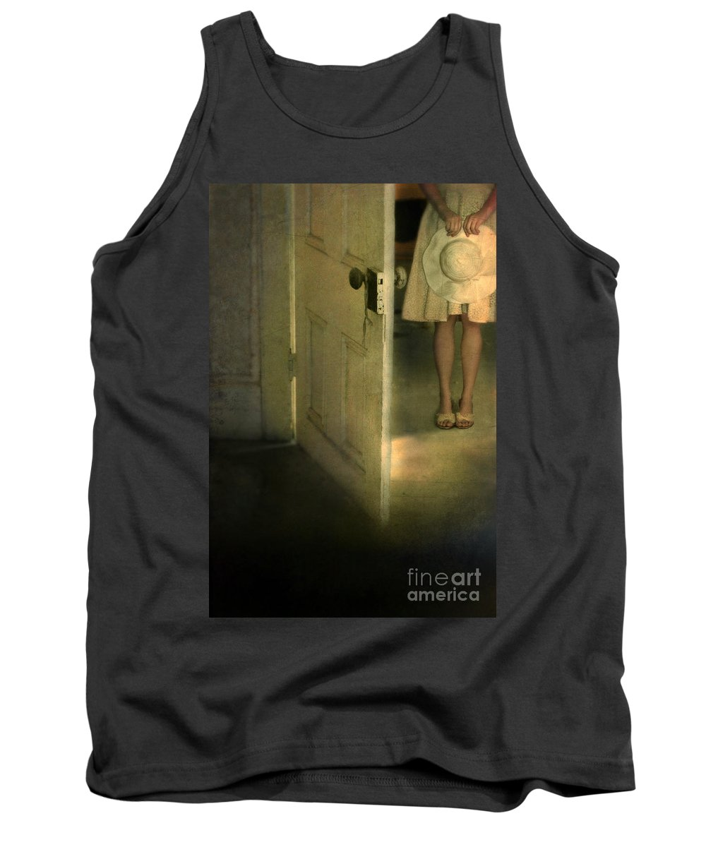 Woman Tank Top featuring the photograph Young Lady By Open Door by Jill Battaglia