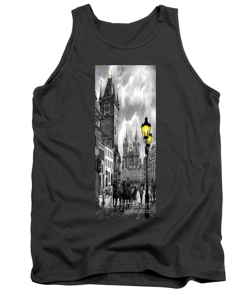 Geelee.watercolour Paper Tank Top featuring the painting Bw Prague Old Town Squere by Yuriy Shevchuk